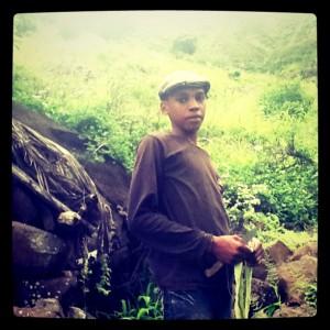 Junge im Tal von Galinha, unterhalb von Rui Vaz